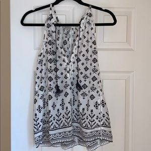 Joie 100% Silk Black and White Tank Top Size M